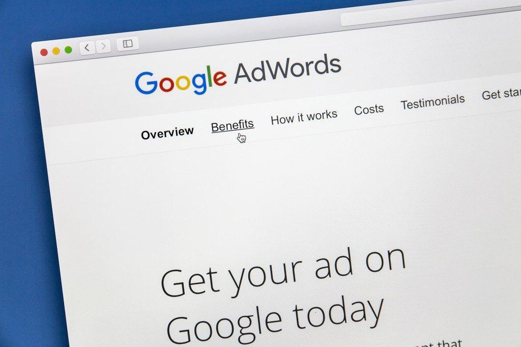 Google adwords on a laptop