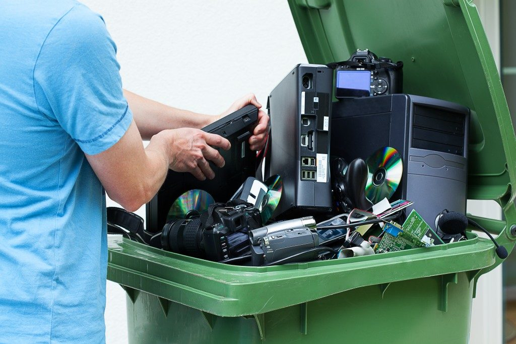 Electronics in a garbage bin
