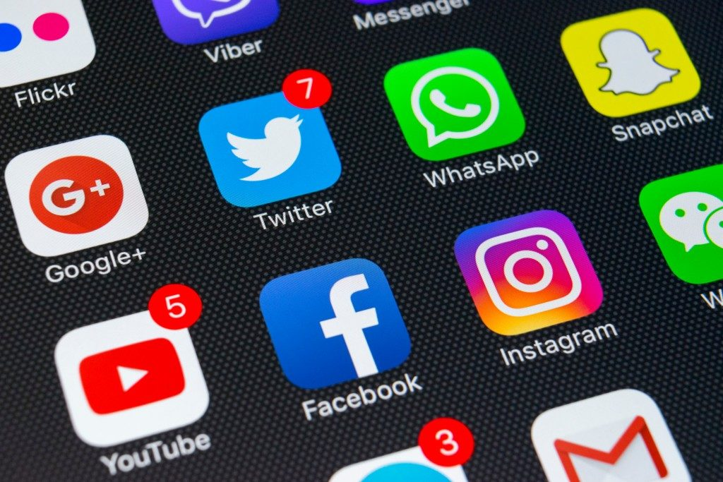 social media icons on a phone screen