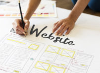 person designing a website